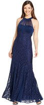 Night Way Nightway Petite Illusion Lace Halter Gown