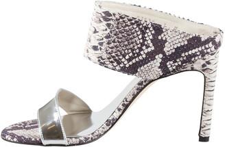 Stuart Weitzman Monochrome Python Embossed And Metallic Silver Leather Open Toe Sandals Size 37.5