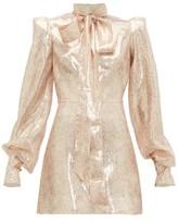 The Vampire's Wife Mayhem Pussy-bow Silk-blend Mini Dress - Womens - Pink Gold