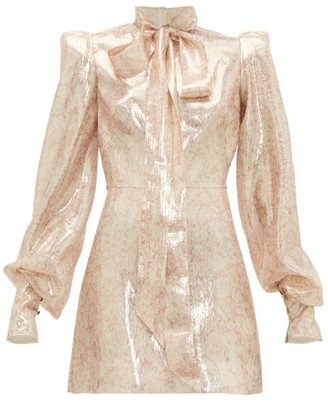 The Vampire's Wife Mayhem Pussy-bow Silk-blend Mini Dress - Pink Gold