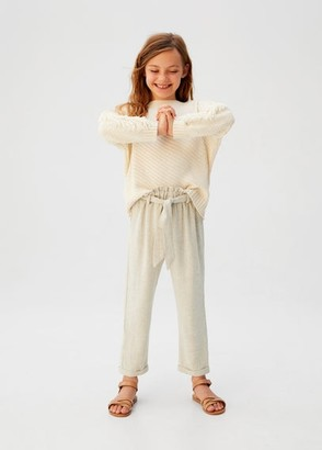 MANGO Bow linen trousers sand - 5 - Kids