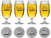 Sagaform Club Decorated Beer Glass with Coaster (Set of 4)