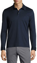 Salvatore Ferragamo Long-Sleeve Polo Shirt with Gancini Chest Embroidery, Navy
