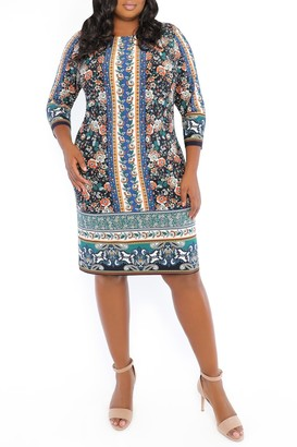 London Times 3/4 Length Sleeve Floral Print Shift Dress