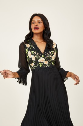 Yumi Black Embroidered Floral Midi Dress