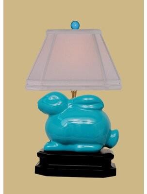 "Zoomie Kids Brunelle 14.5"" Table Lamp Base Color: Turquoise Blue"