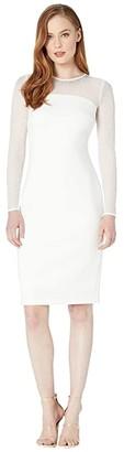 Calvin Klein Long Sleeve Sheath Dress w/ Embellished Neck Detail (Cream) Women's Dress