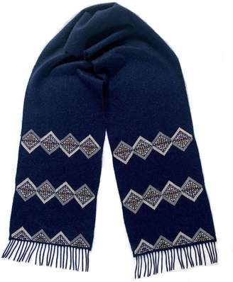 Kannava Made By Refugees Hand Embroidered Cashmere Scarf - Grey Geometric Motif