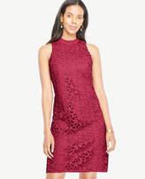 Ann Taylor Floral Lace Mock Neck Dress