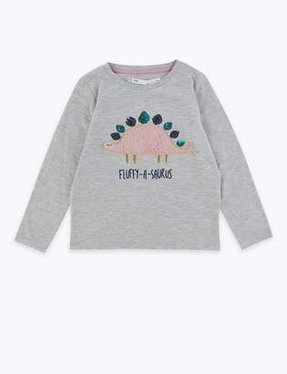 Marks and Spencer Fluffy Sequin Dinosaur Top (2-7 Years)