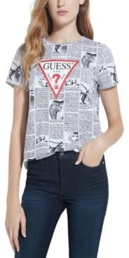 GUESS Newspaper-Print Logo T-Shirt