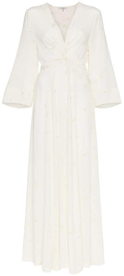 Ganni twist detail silk maxi dress