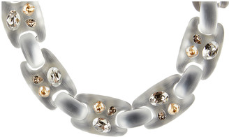 Alexis Bittar Crystal Studded Soft Link Necklace, Silver