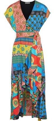 Alice + Olivia Dani Printed Satin Wrap Dress