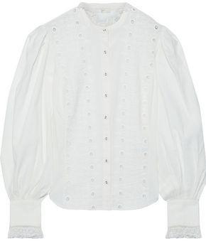Joie Bobette Lace-trimmed Broderie Anglaise Cotton-blend Blouse