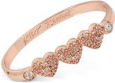Betsey Johnson Rose Gold-Tone Triple Heart Pavé Bangle Bracelet