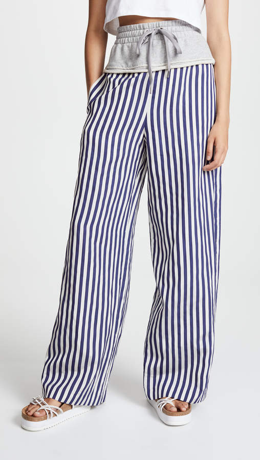 Alexander Wang Terry Stripe Combo Pull On Pants