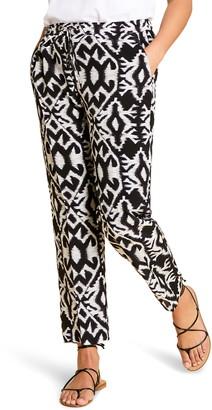 Marina Rinaldi Riccioli Print Silk Drawstring Pants
