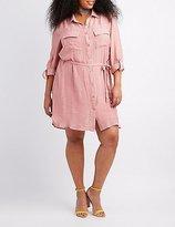 Charlotte Russe Plus Size Gauze Button-Up Shirt Dress