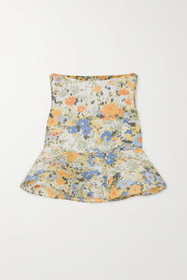 Nina Ricci Floral-print Taffeta Peplum Blouse - Pastel yellow