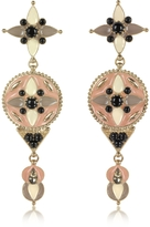 Roberto Cavalli Gold-tone and Enamel w/Multicolor Crystals Long Earrings
