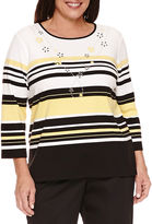 Alfred Dunner City Life 3/4 Sleeve Crew Neck T-Shirt-Plus