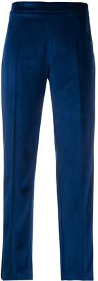 Hebe Studio Ankle-Crop Velvet Tuxedo Trousers