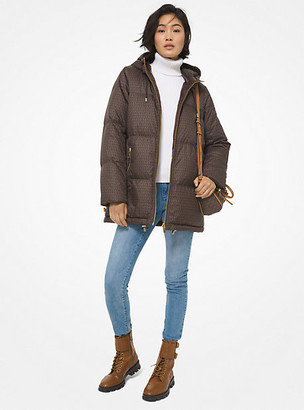 MICHAEL Michael Kors MK Mini Logo Cire Reversible Puffer Jacket - Chocolate - Michael Kors