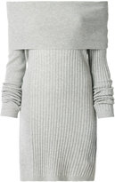 Twin-Set slash-neck ribbed jersey dress - women - Polyamide/Viscose/Cashmere/Wool - XS