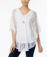 Style&Co. Style & Co Lace-Up Fringe Poncho, Only at Macy's