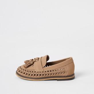 River Island Mini boys brown woven tassel loafers