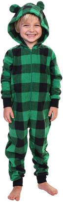 Angelina One-Piece Pajamas Black - Black & Green Buffalo Check Hooded One-Piece Pajama