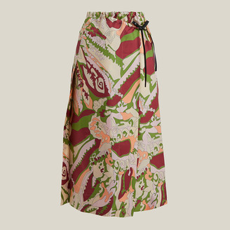 Victoria Beckham Multicoloured 70s-Print Pleated Wrap Skirt UK 16