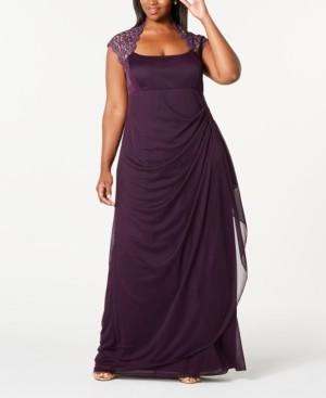 Xscape Evenings Plus Size Ruched Lace Gown
