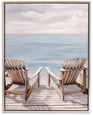 "Adirondack Patton Wall Decor 30""x38 Chairs Coastal Framed Canvas Art Silver"