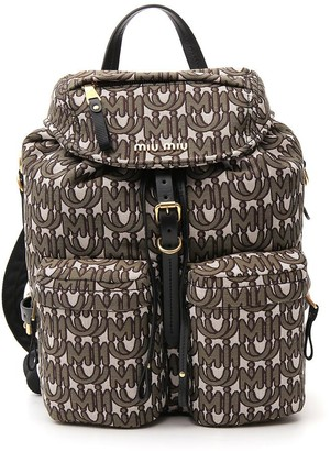 Miu Miu Logo Monogram Drawstring Backpack