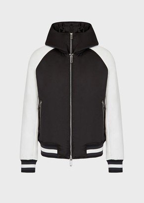 Emporio Armani Satin Bomber Jacket With Detachable Inner Panel And Oversized Ea Embroidery