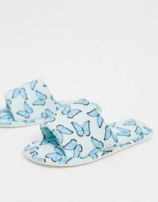 Skinnydip butterfly slippers in blue