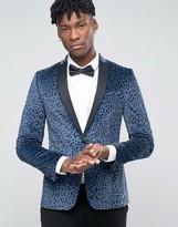 Asos Skinny Blazer In Leopard Print Velvet
