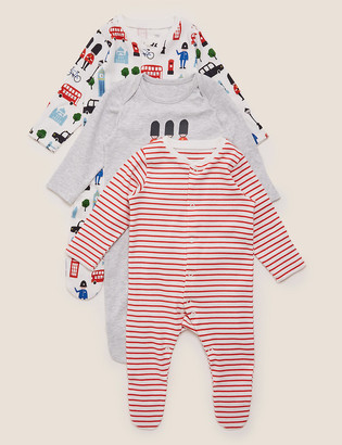Marks and Spencer 3 Pack Organic Cotton Sleepsuits (6lbs-3 Yrs)