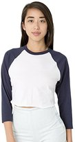 American Apparel Women's Poly-Cotton Cropped 3/4 Sleeve Raglan, White/Black, X-Small/Small