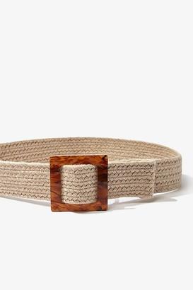 Forever 21 Square-Buckle Jute Waist Belt