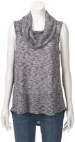 Angels Women's Cowlneck Marled Sleeveless Top