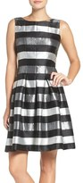 Chetta B Stripe Metallic Woven Fit & Flare Dress