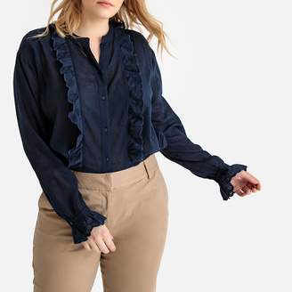 La Redoute Collections Plus Ruffled Cotton Blouse with Broderie Anglaise and Long Sleeves