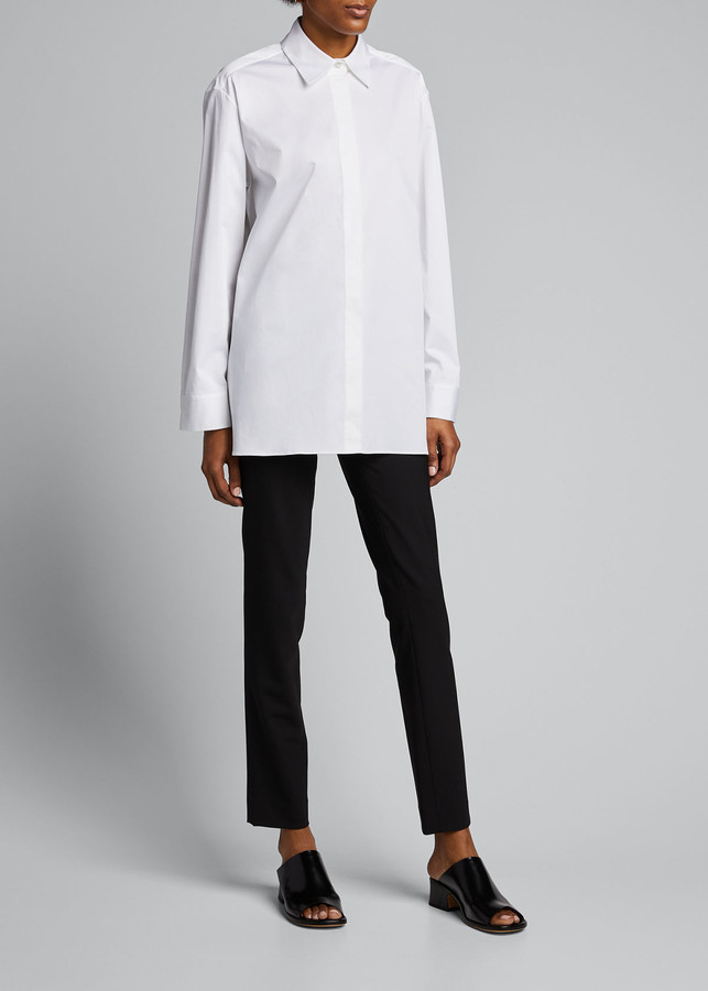 The Row Big Sisea Button-Front Long-Sleeve Cotton-Stretch Shirt