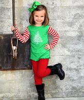 Beary Basics Green & Red Christmas Tree Tee & Leggings - Toddler & Girls