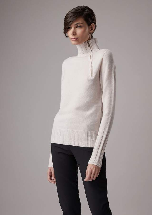 Giorgio Armani Satin Cashmere Turtleneck With Zip Collar