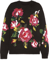 Dolce & Gabbana Oversized Intarsia Wool And Cashmere-blend Sweater - Black