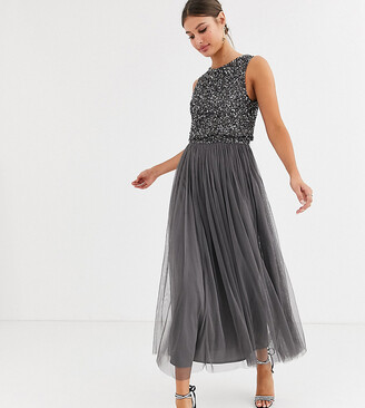 Maya Tall Bridesmaid delicate sequin 2 in 1 midaxi dress in dark grey